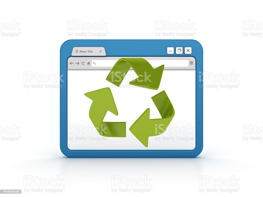 Internet Browser with Recycle Icon stock photo