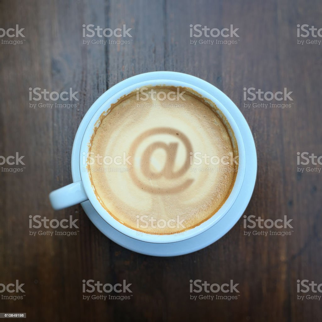Internet cafe email coffee communication social media concept stock photo