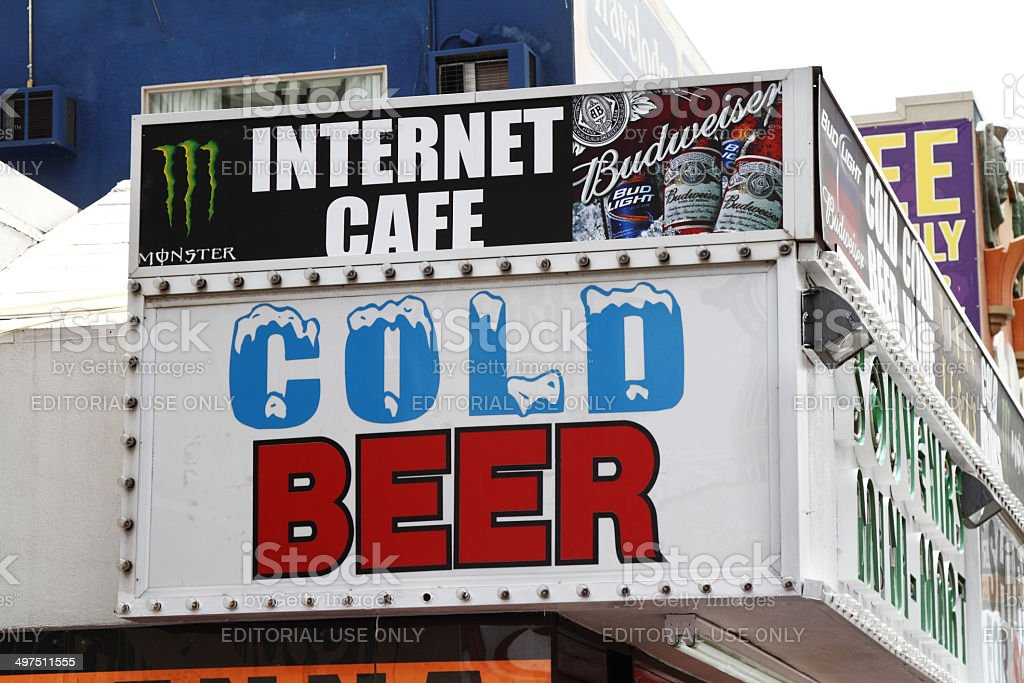 Internet cafe with cold beer. stock photo