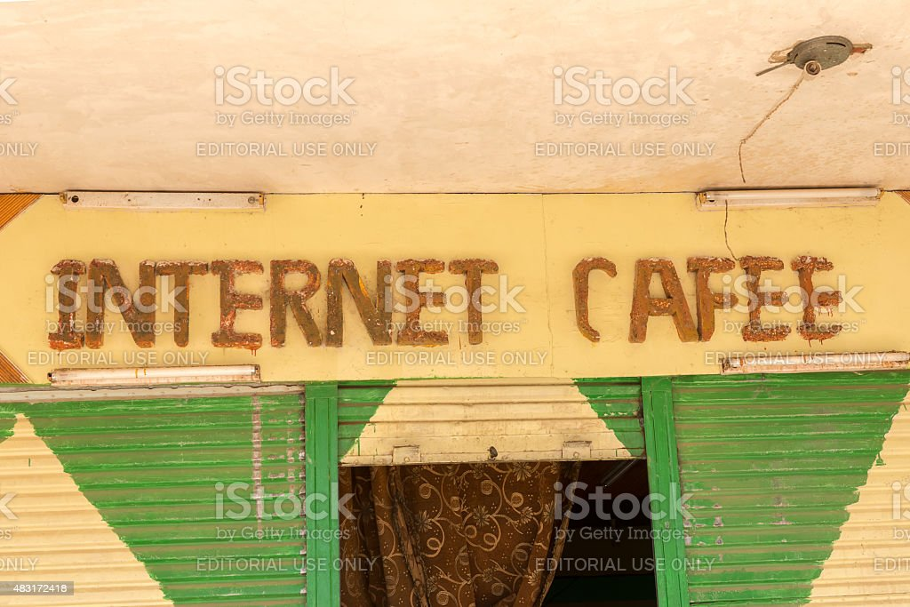 Internet Cafee sign above entrance. stock photo