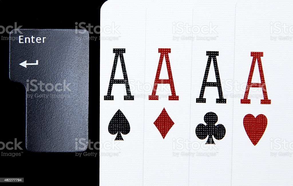 internet casino poker four of kind aces cards combination hearts stock photo