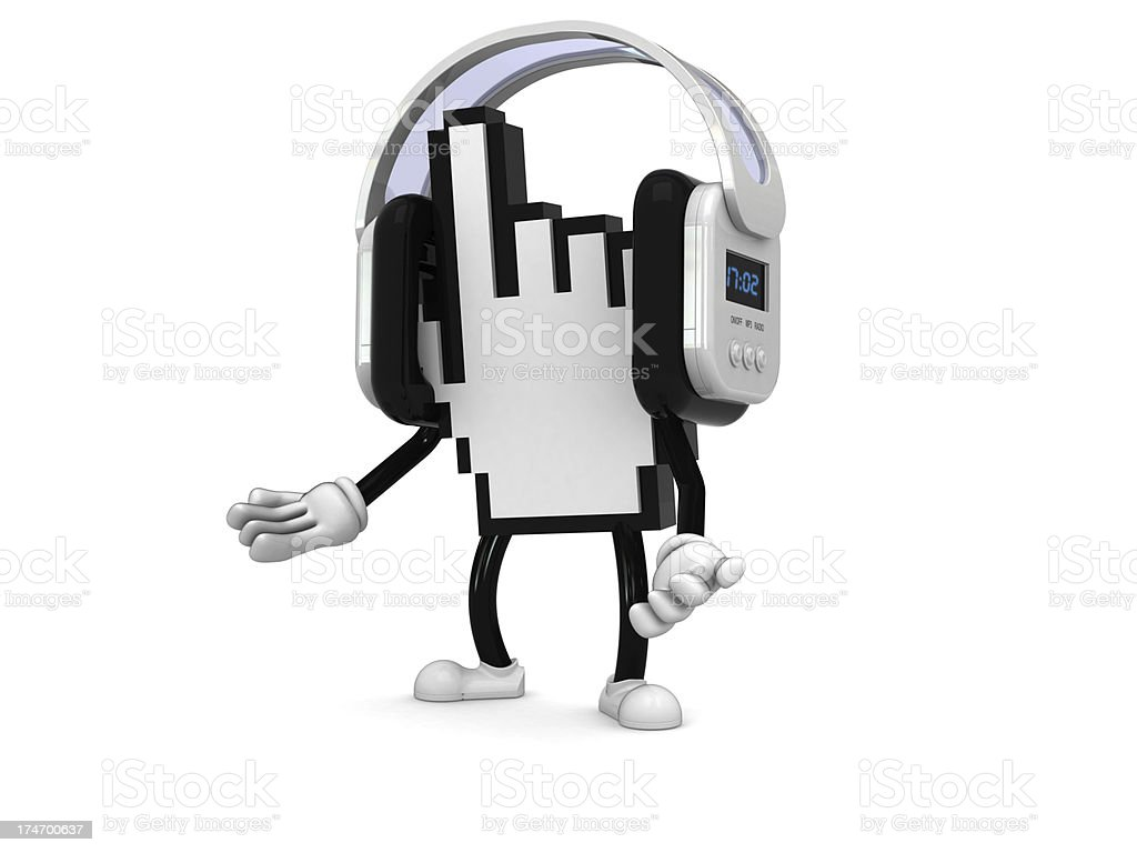 Internet character with headphones royalty-free stock photo