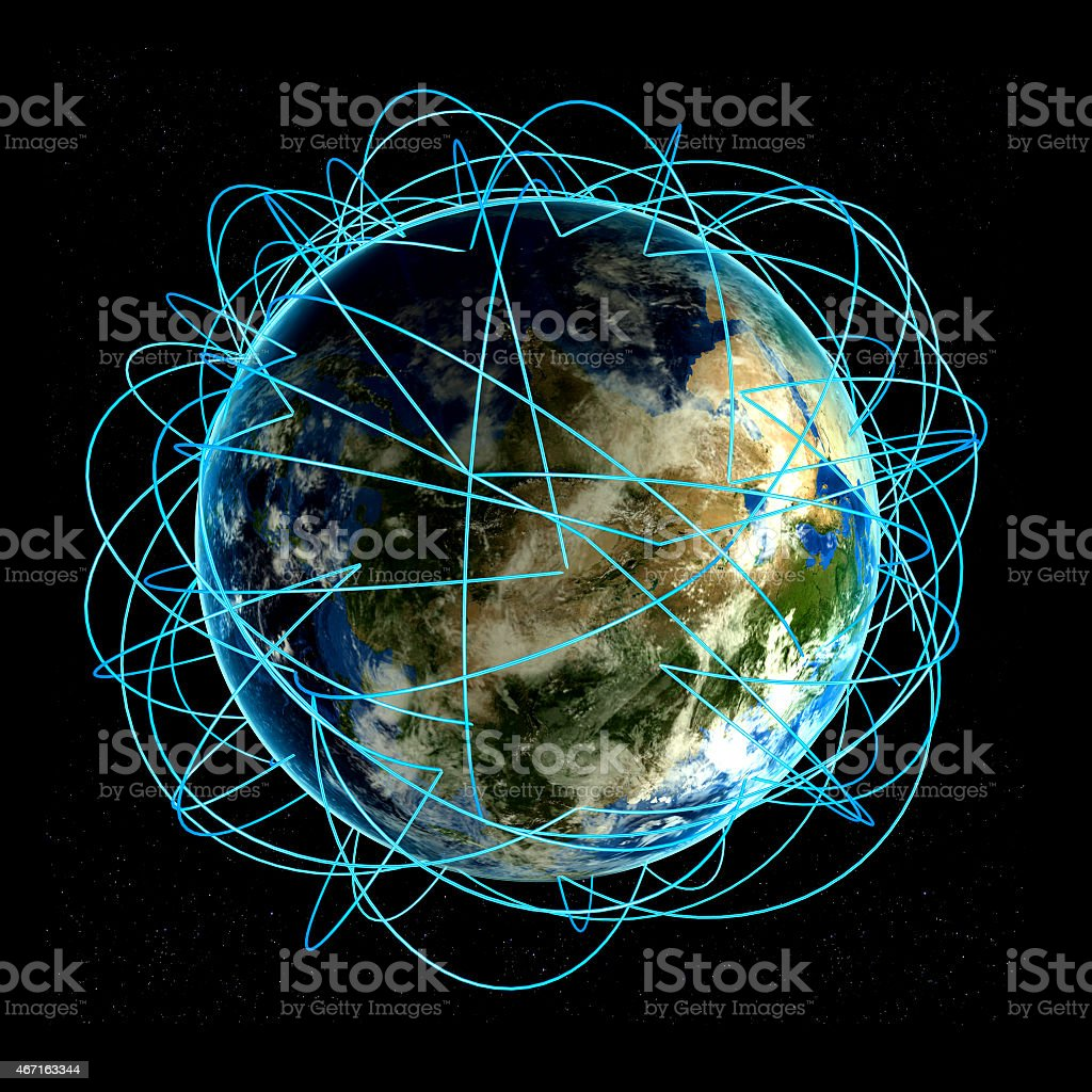 Internet Concept of global business and major air routes stock photo