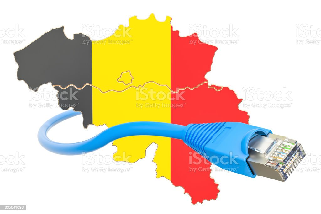 Internet connection in Belgium concept. 3D rendering isolated on white background stock photo