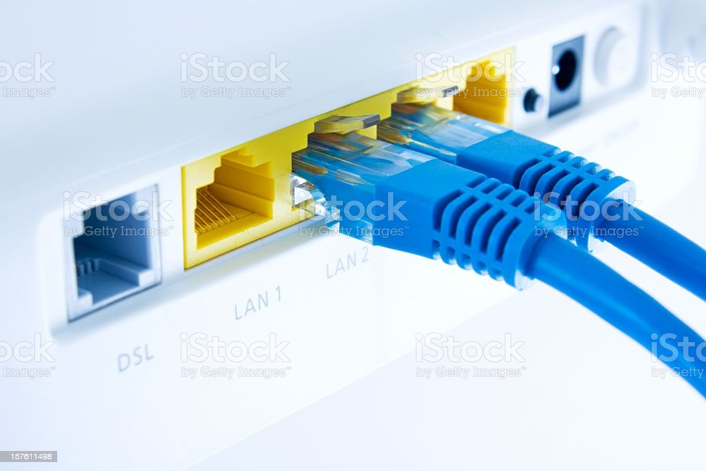 Internet connection with router stock photo