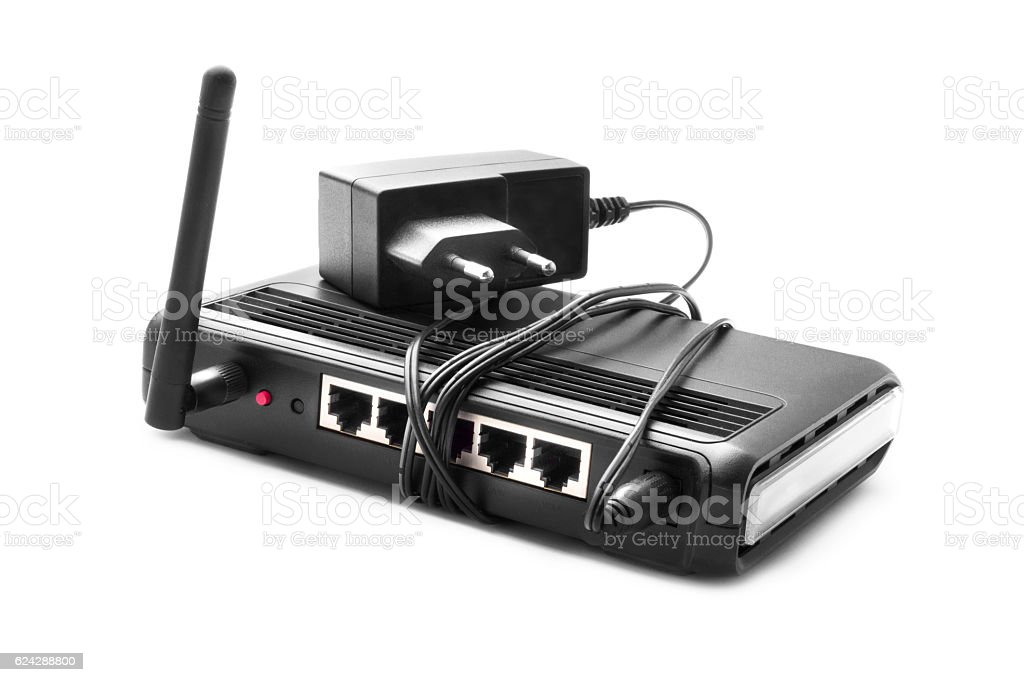 Internet connection with wlan router stock photo