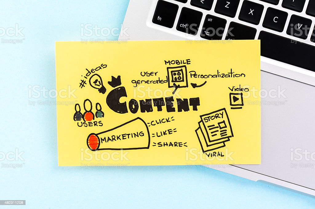 Internet content marketing sketch on blue background over notebook. stock photo