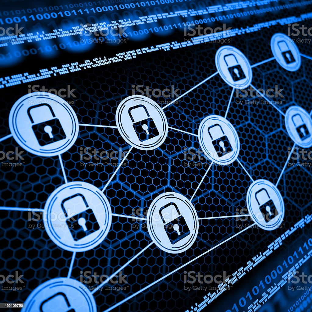 Internet Cyber Security network with lock stock photo