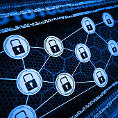 Internet Cyber Security network with lock