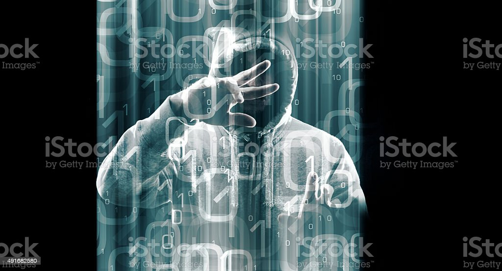 Internet cyber spy, computer hacking online stock photo