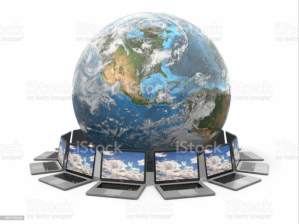 Internet. Global communication. Earth and laptop. 3d royalty-free stock photo