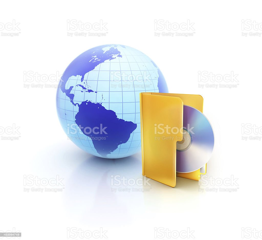 Internet Globe with cd or dvd folder icon stock photo