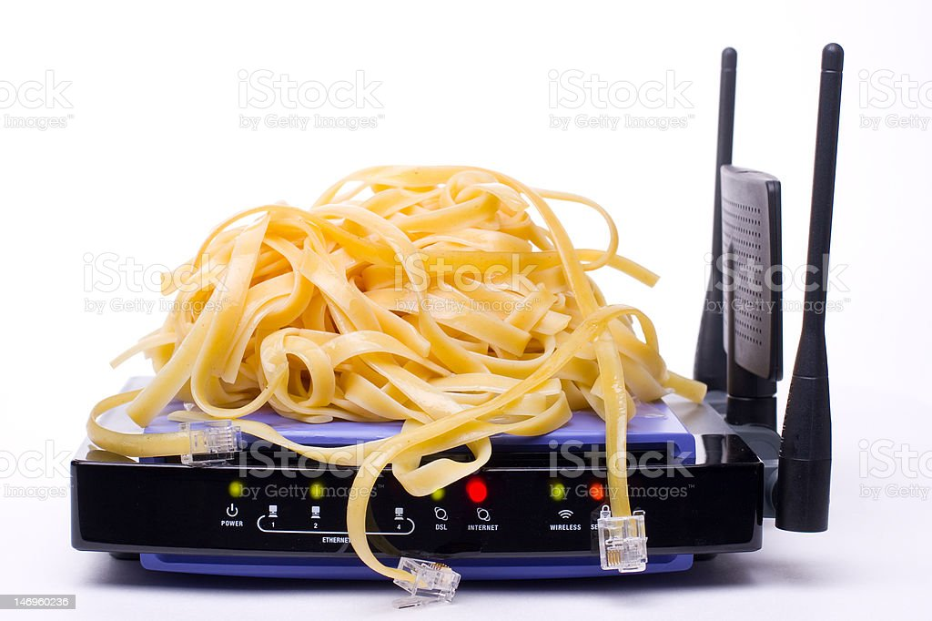 internet modem and pasta cable connectors stock photo