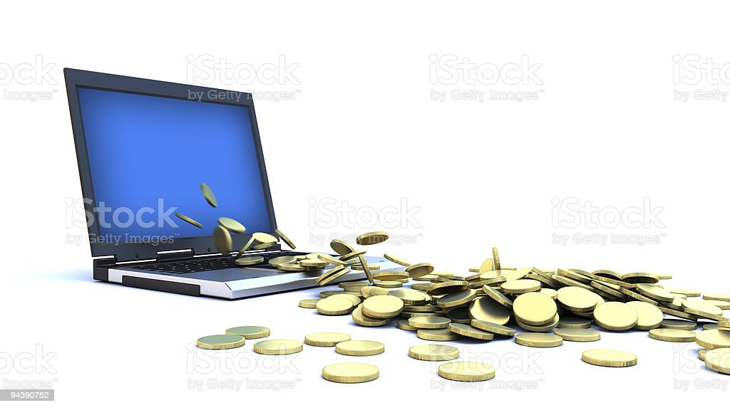 Internet Money - Gold Coins royalty-free stock photo