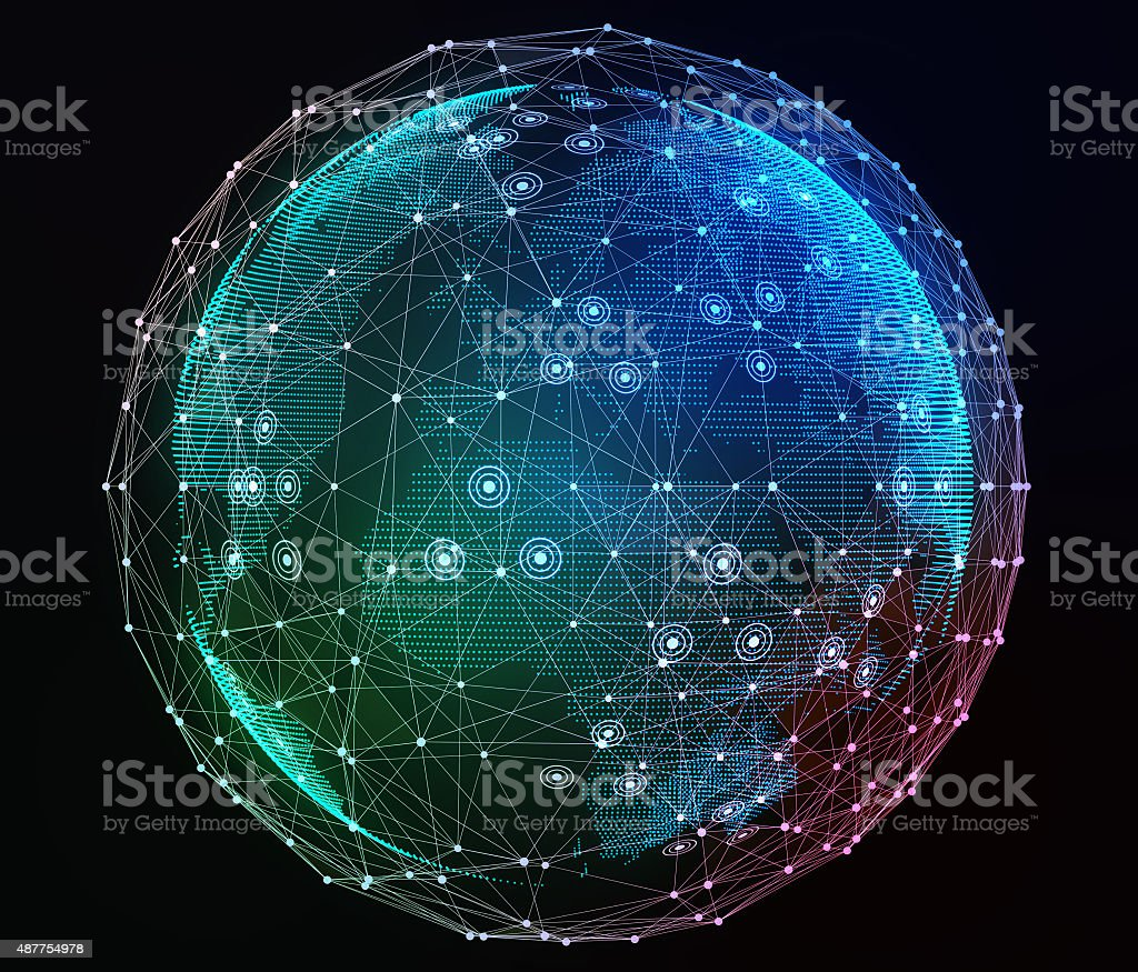Internet network around the planet. Digital illustration stock photo