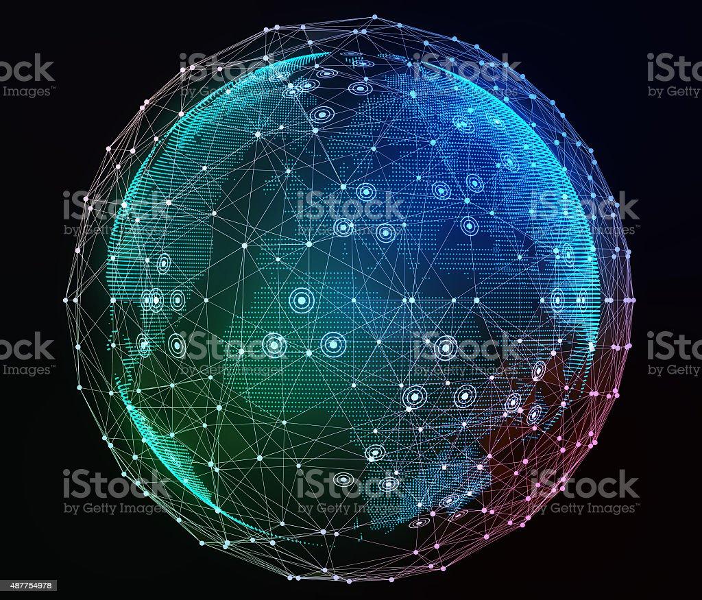 Internet network around the planet. Digital illustration stock photo