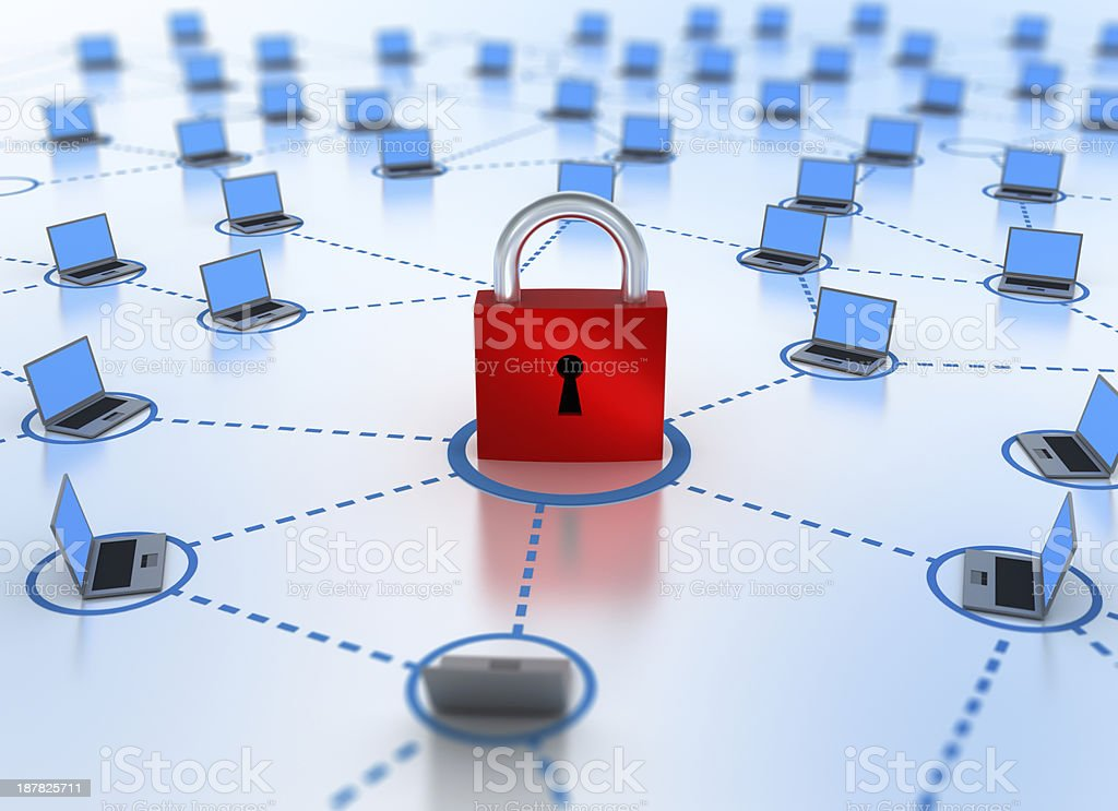 Internet Network concept - security in focus stock photo