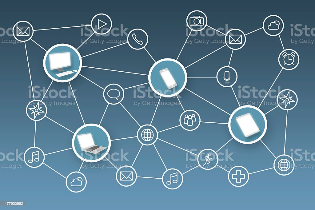 Internet Network of Connected Devices and Apps stock photo