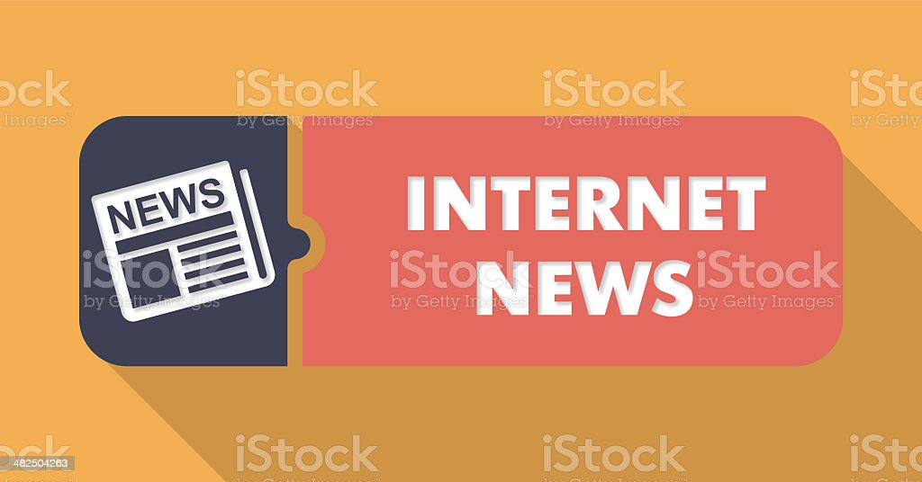 Internet News Concept on Orange in Flat Design. royalty-free stock vector art