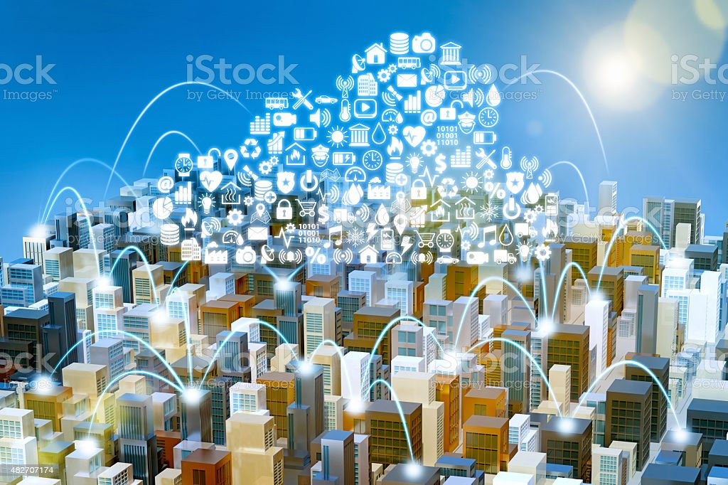 Internet of Things: city with buildings linked by cloud computing stock photo