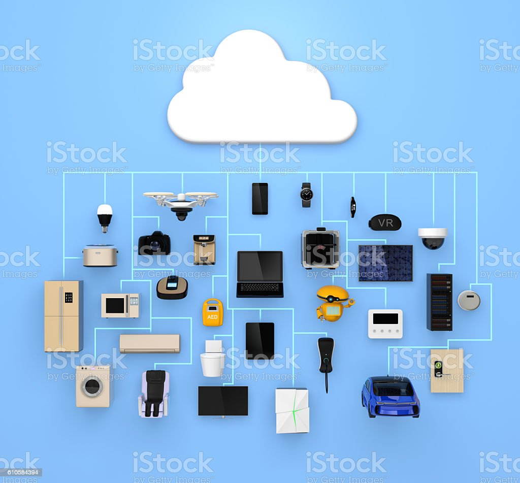 Internet of Things concept for consumer products stock photo
