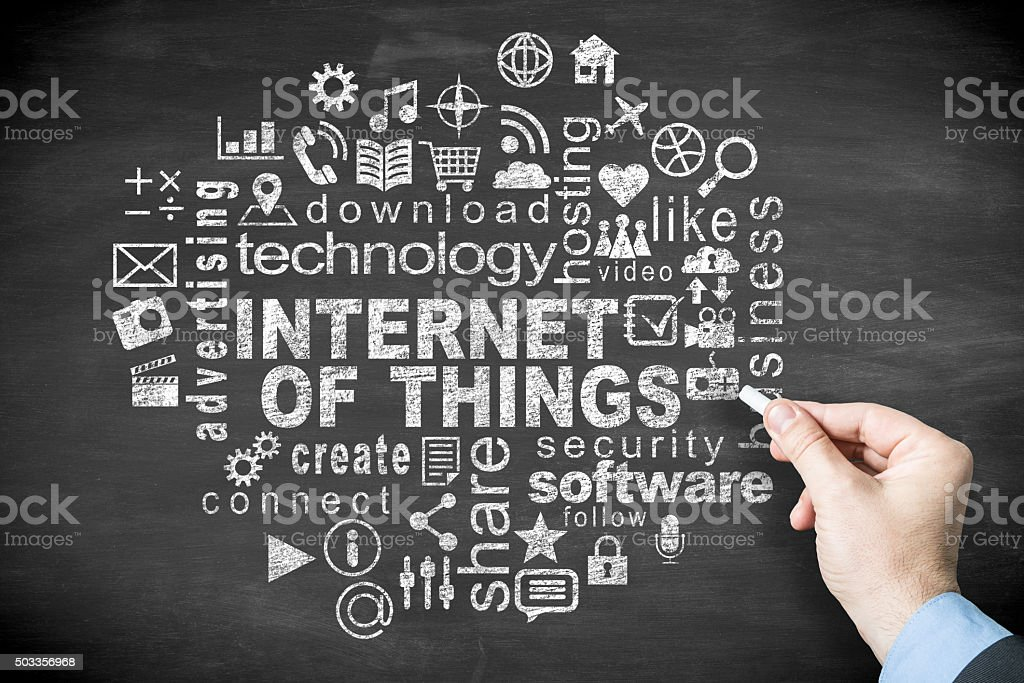 internet of things on blackboard stock photo