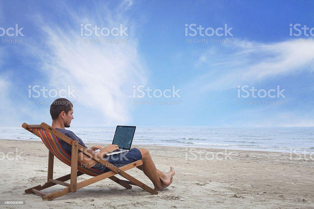 internet on the beach stock photo