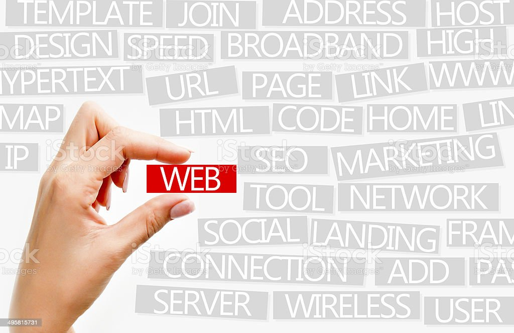 Internet or web concept described with words stock photo