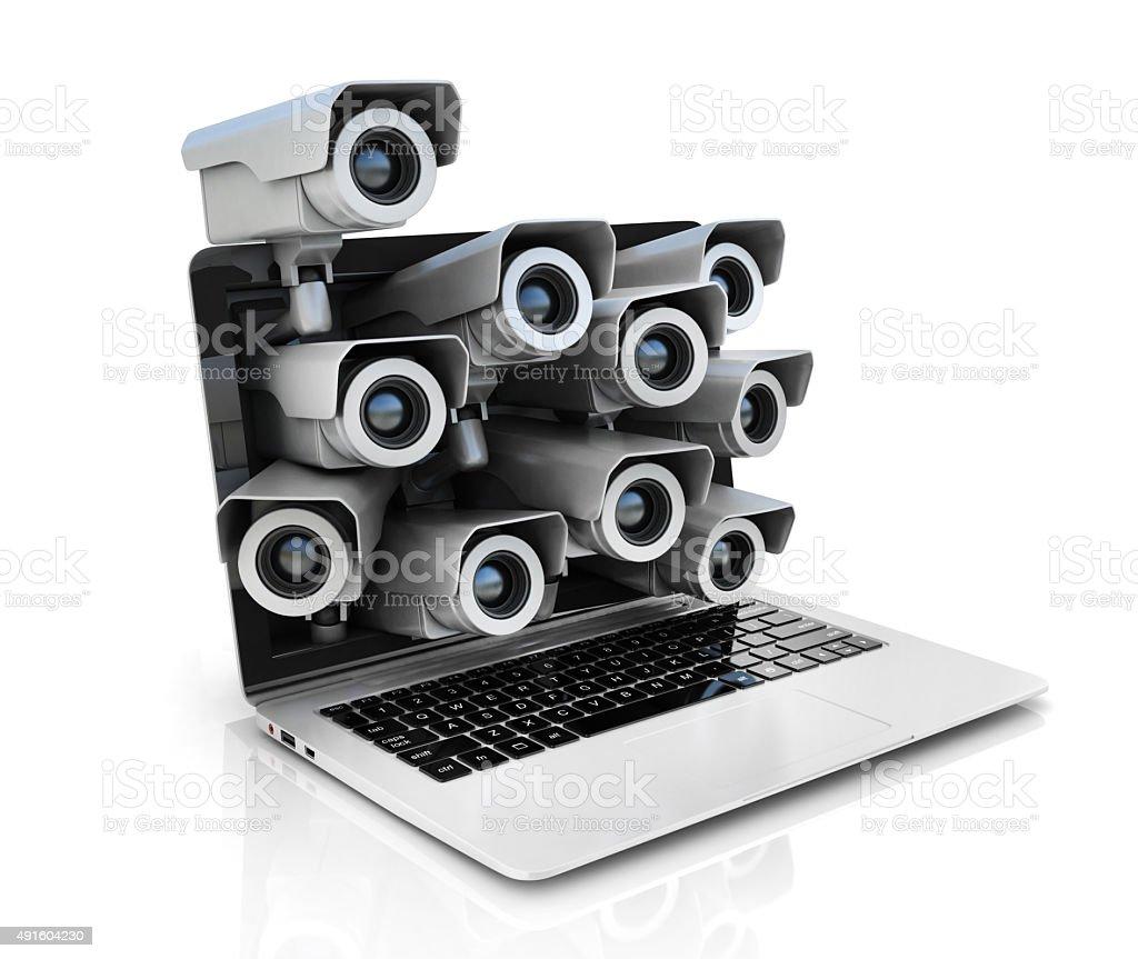 internet privacy 3d concept - surveillance cameras inside laptop stock photo