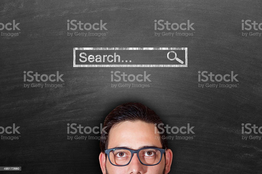 Internet search concept on black chalkboard stock photo