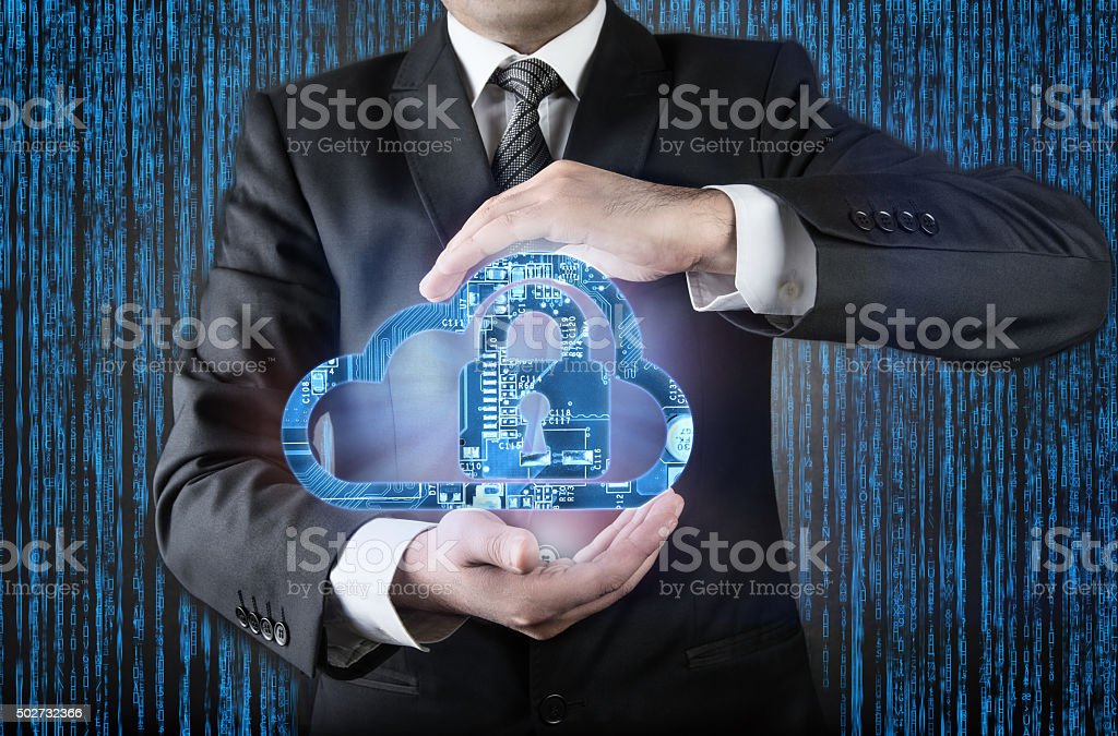 Internet Security concept Cloud and Lock stock photo