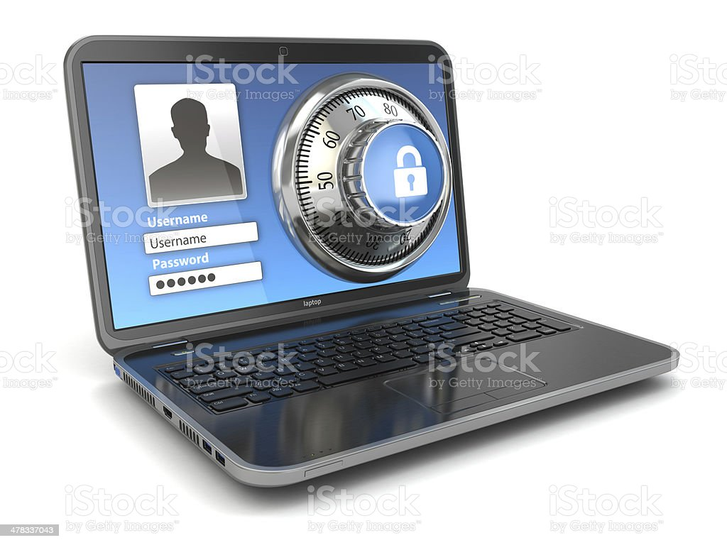 Internet Security.  Laptop and safe lock. stock photo