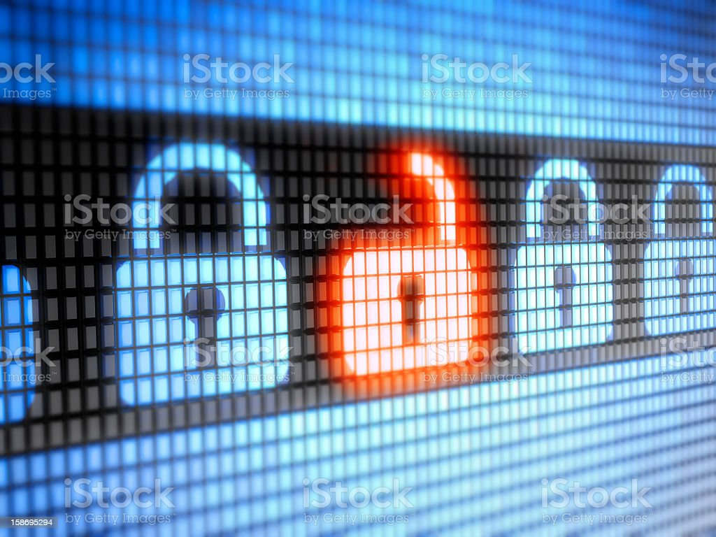 LED internet security lock and unlock symbols royalty-free stock photo