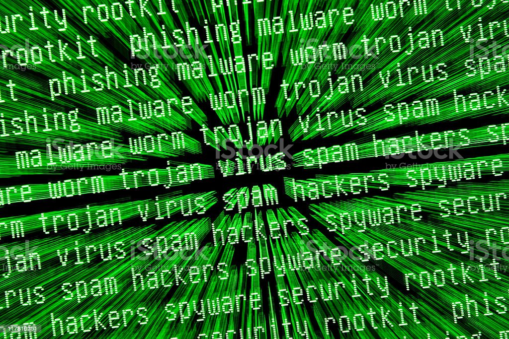 internet security warnings on green computer screen royalty-free stock photo
