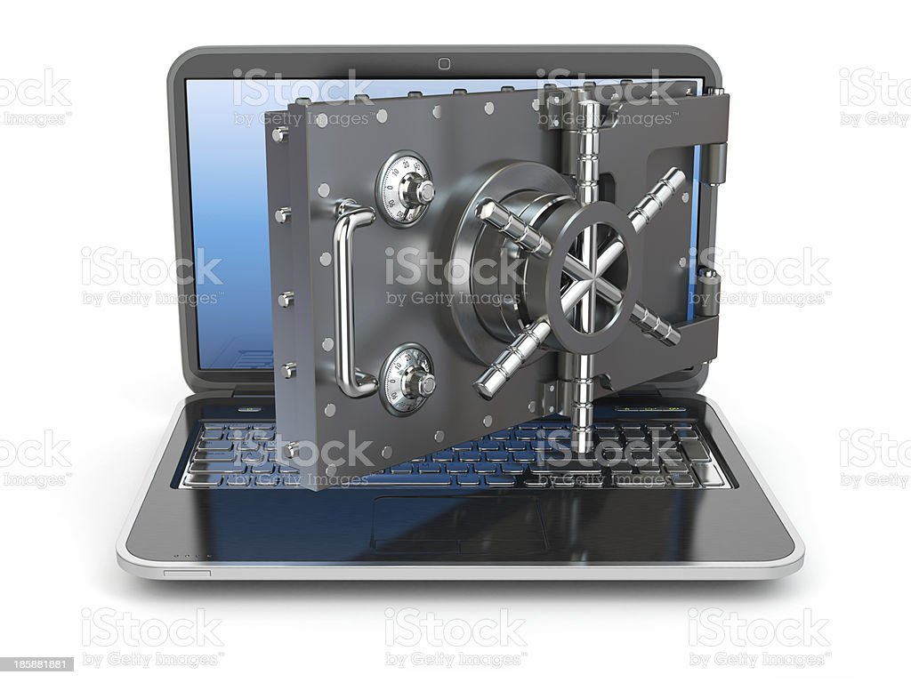 Internet security.Laptop and opening safe deposit box's door. royalty-free stock photo