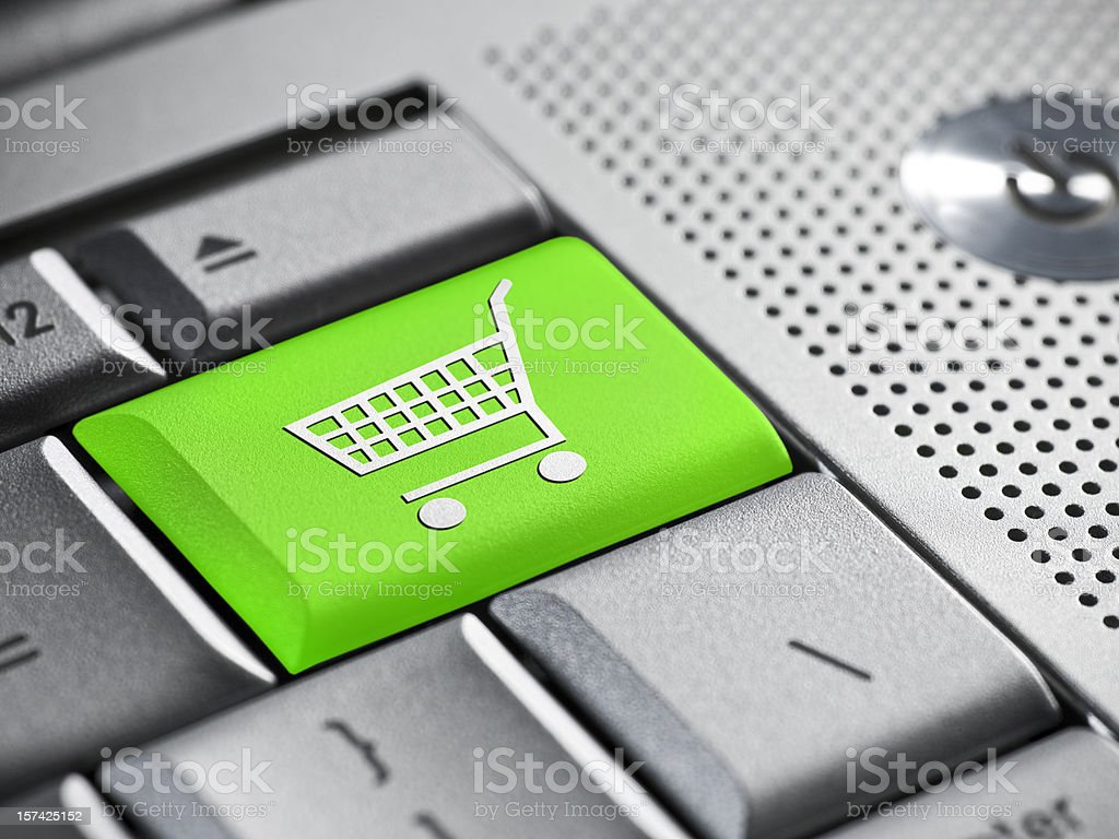 Internet shopping on a laptop royalty-free stock photo