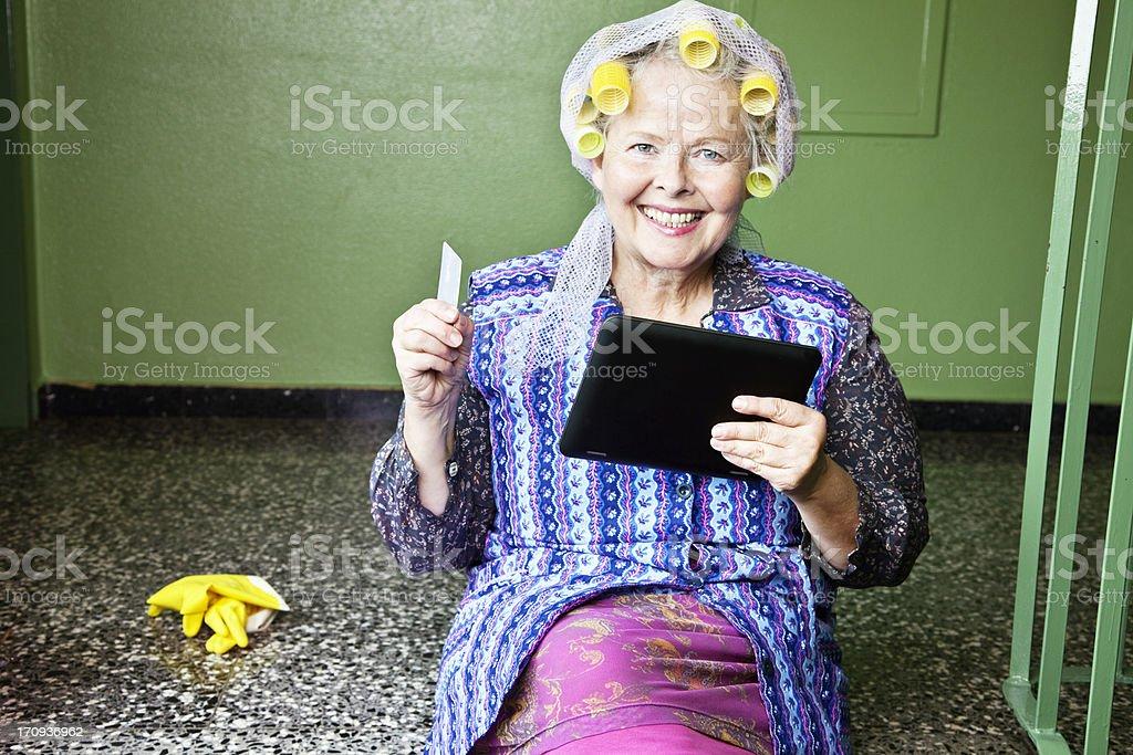 internet shopping on digital tablet everywhere royalty-free stock photo