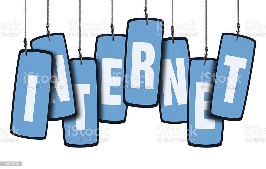 Internet Speech Bubble in Wire Clam (Clipping Path) stock photo