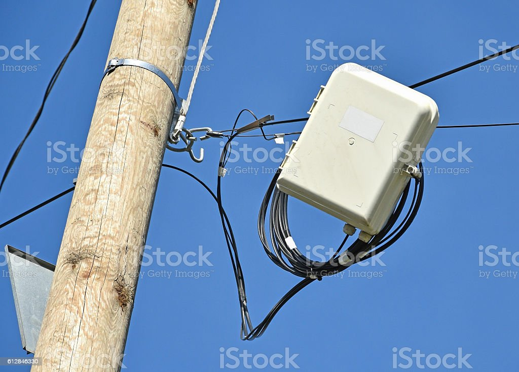 Internet switch and cables outdoors stock photo