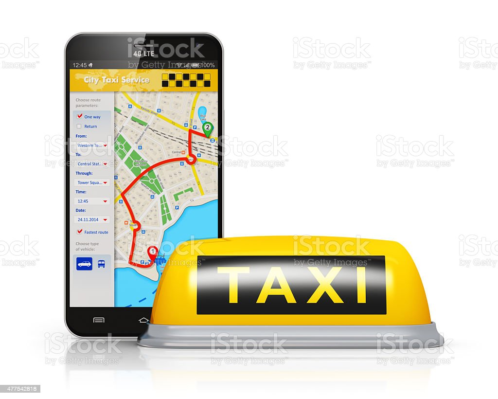Internet taxi service concept stock photo