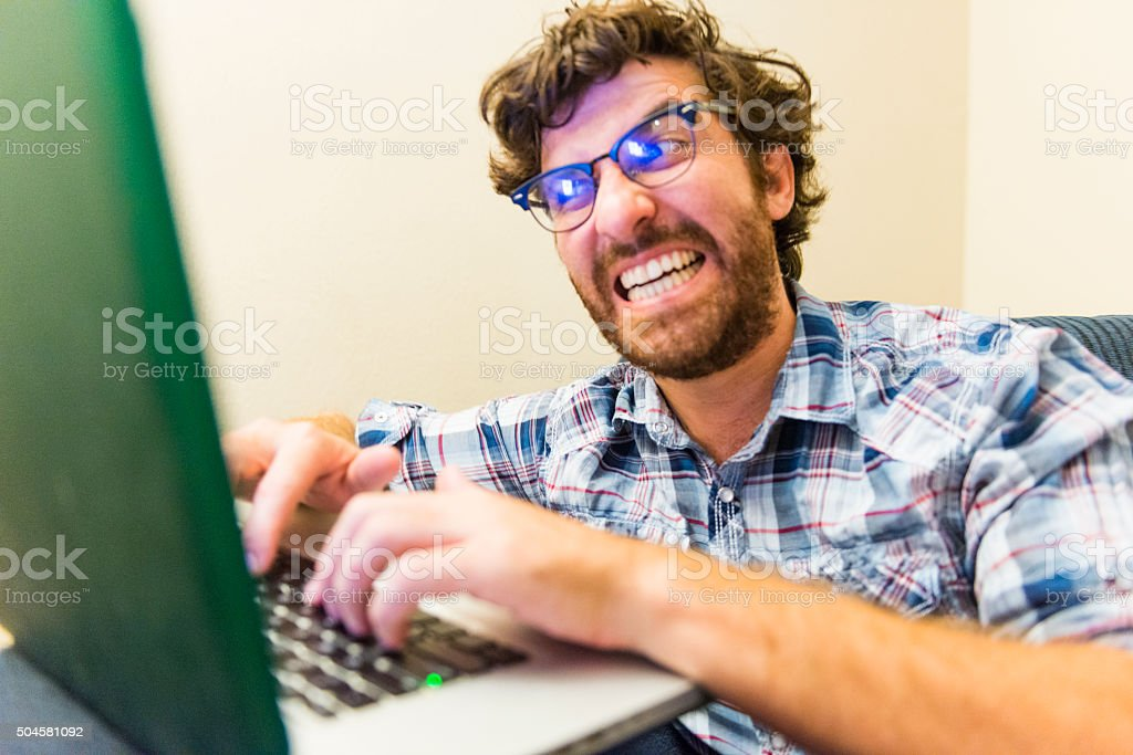 Internet Troll Types Rant Online Social Media Writing and Ranting stock photo