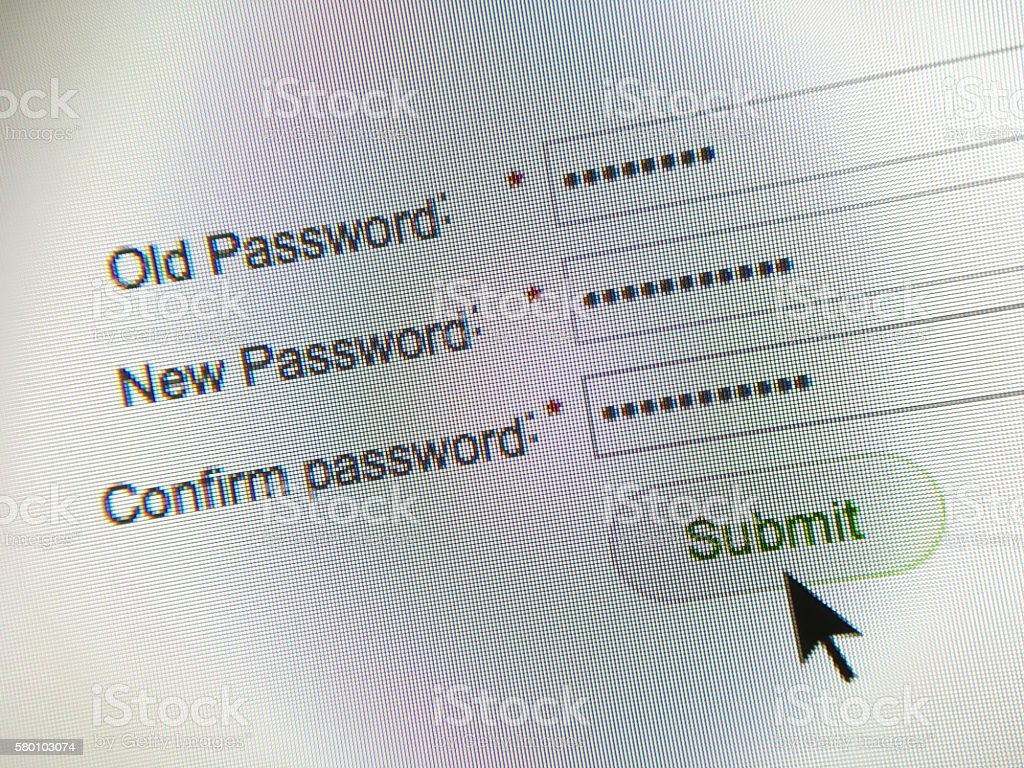 Internet website password change stock photo
