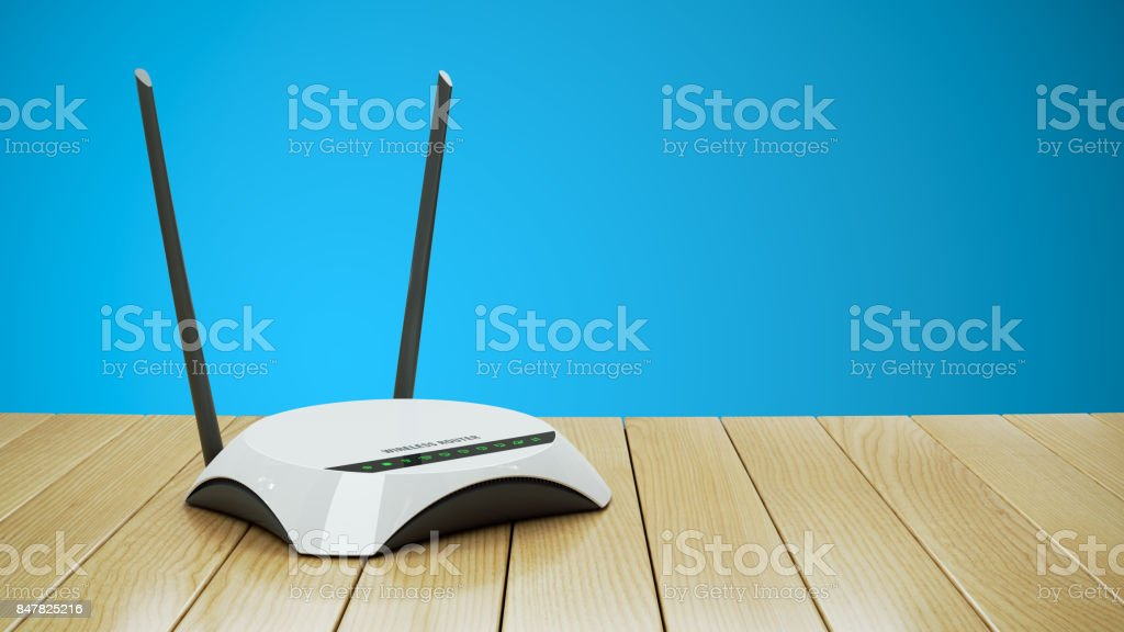 Internet Wi-Fi router on wooden table 3d stock photo