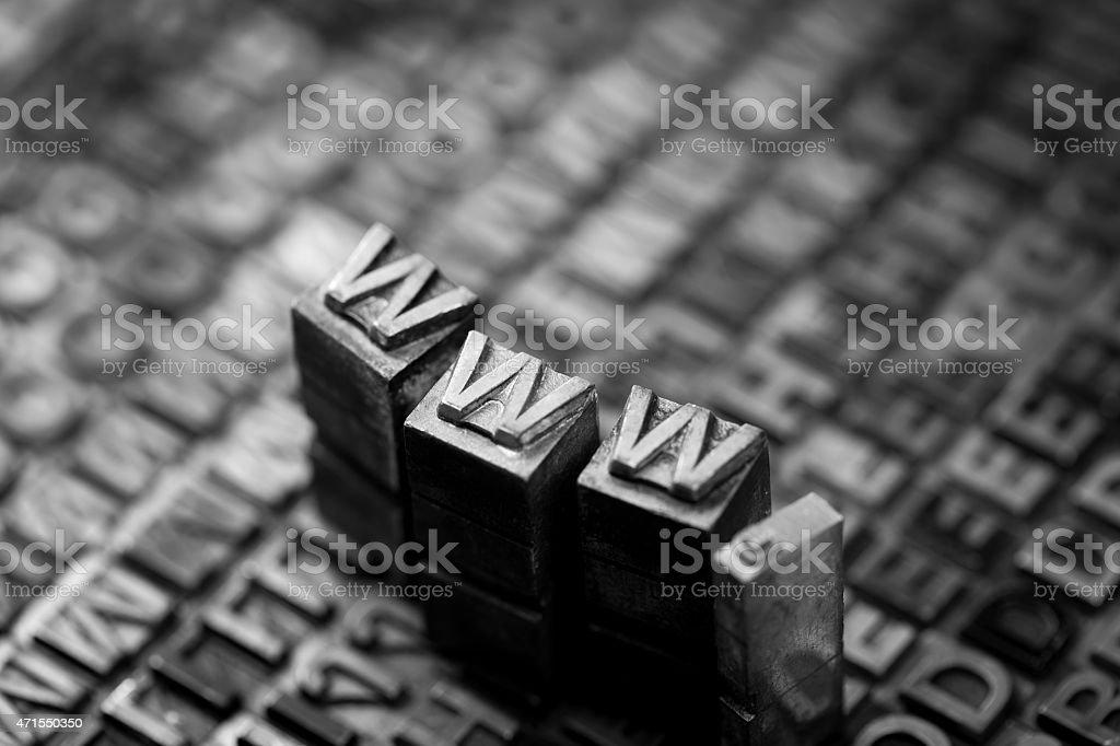 Internet www website by letterpress stock photo