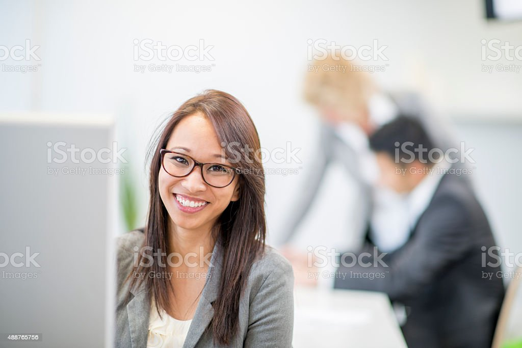 Interns Doing Internet Research stock photo