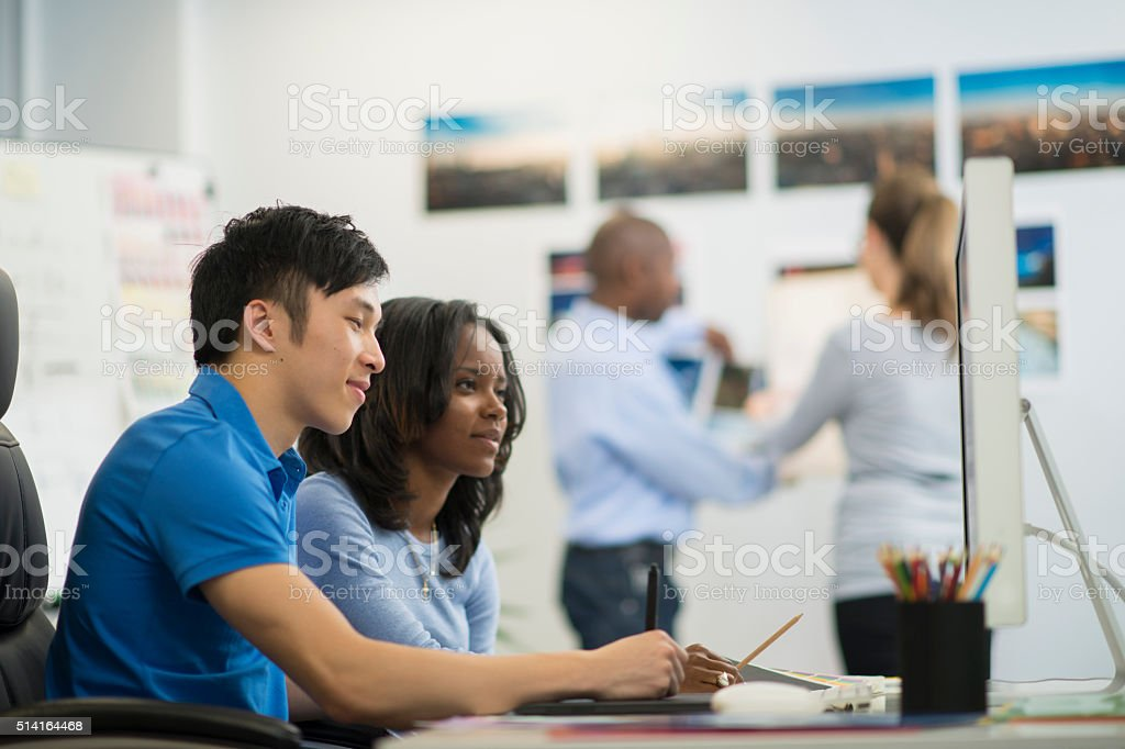 Interns Learning the Ropes stock photo