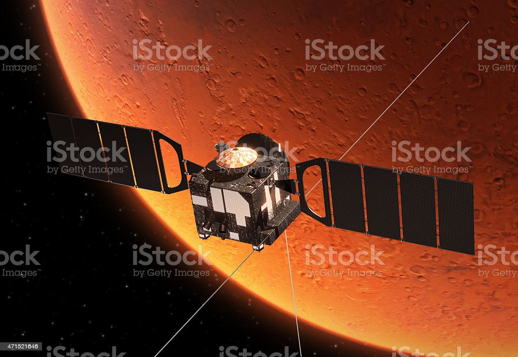 Interplanetary Space Station Orbiting Planet Mars stock photo