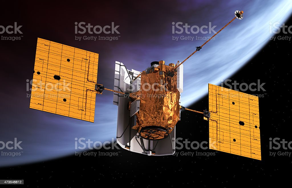 Interplanetary Space Station Orbiting Planet stock photo