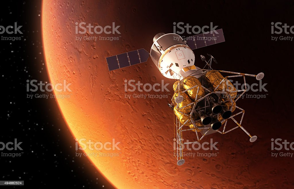 Interplanetary Space Station Orbiting Red Planet stock photo