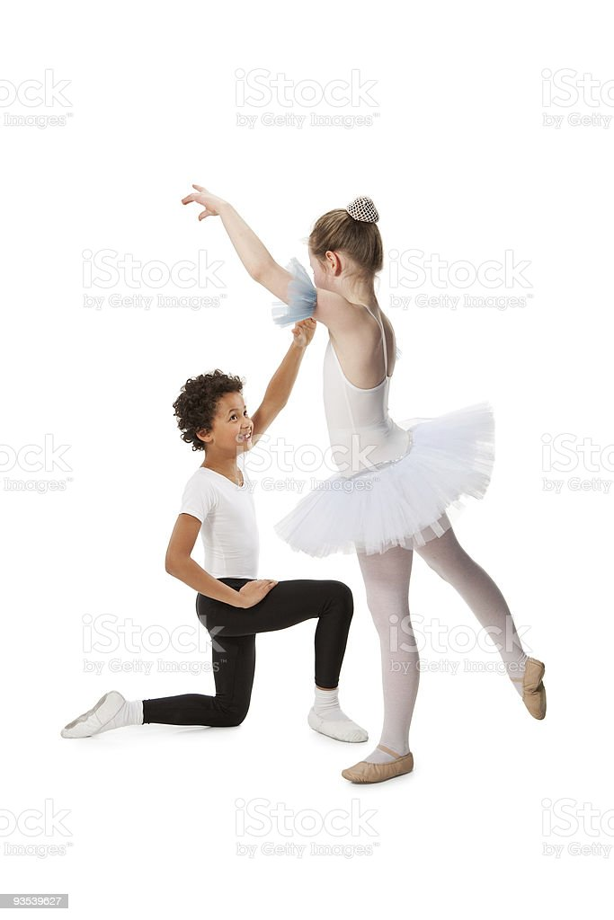interracial  children dancing together, isolated on white backgr stock photo